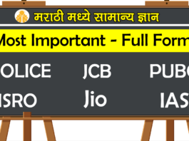 Most Important Full forms in Marathi